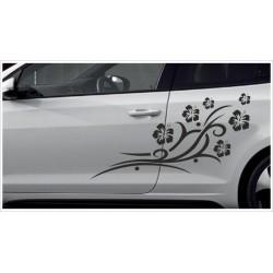 Aufkleber SET Car Style Tattoo Hibiskus Tribal  Dekor Blüten Fahrzeuge Seitenaufkleber
