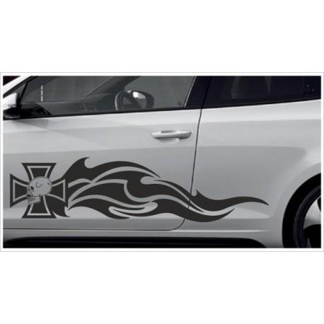 Aufkleber SET Car Style Tattoo Totenkopf Kreuz  Fahrzeuge Seitenaufkleber