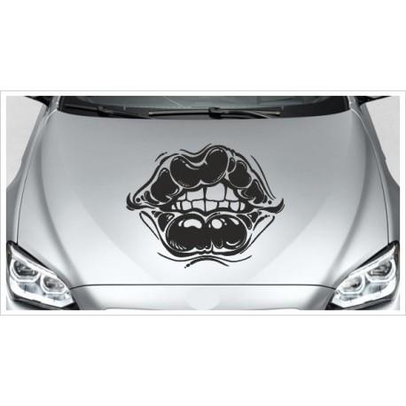 Aufkleber Motorhaube Kiss Kuss Mund Lippen sexy Love Autoaufkleber Tattoo Auto Car