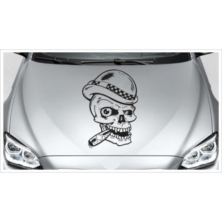 Aufkleber Motorhaube Totenkopf Hut Zigarre Rauchen Autoaufkleber Tattoo Auto Car