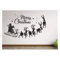 X-MAS Aufkleber Weihnachtsmann Schlitten Rentier Sterne Frohe Weihnachten Merry Christmas Wandaufkleber Wandtattoo Fenster