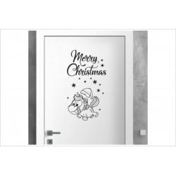 X-MAS Aufkleber Einhorn WOW Winter Fröhliche Weihnachten Merry Christmas Wandaufkleber Wandtattoo Fenster