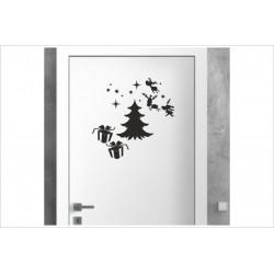 X-MAS Aufkleber Fenster Tanne Geschenk Rentier Fröhliche Weihnachten Merry Christmas Wandaufkleber Wandtattoo Fenster