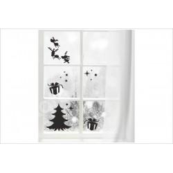 X-MAS Aufkleber Fenster Tanne Rentier Geschenk Fröhliche Weihnachten Merry Christmas Wandaufkleber Wandtattoo Fenster