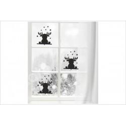 X-MAS Aufkleber Fenster 3x Rentier Sterne Fröhliche Weihnachten Merry Christmas Wandaufkleber Wandtattoo Fenster