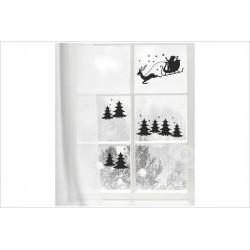 X-MAS Aufkleber Fenster Wald Schlitten Tanne Fröhliche Weihnachten Merry Christmas Wandaufkleber Wandtattoo Fenster
