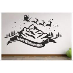 X-MAS Aufkleber Advent Berge Landschaft Tanne Kugel Fröhliche Weihnachten Merry Christmas Wandaufkleber Wandtattoo Fenster