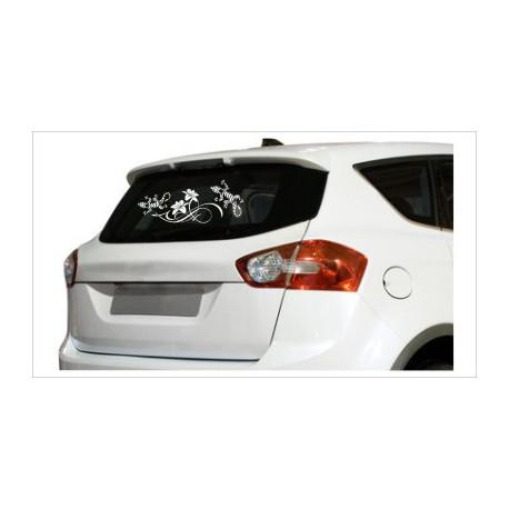 Gecko Blumen Dekor Echse Aufkleber Tattoo Auto Car Style Tuning Heckscheibe Lack & Glas
