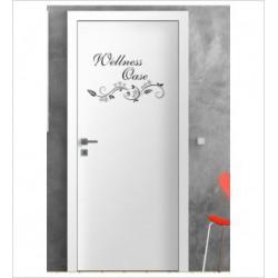 Wellness Oase Wandaufkleber Aufkleber Tür Zimmer Schriftzug Bad Spa Wellness Erholung Relax
