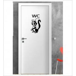 WC Stinktier Wandaufkleber Aufkleber Tür Zimmer Schriftzug Comic Fun Bad WC
