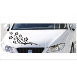 Motorhauben Aufkleber Auto Hibiskus Blüten Blumen Dekor Tattoo Tribal Sticker Lack & Glas