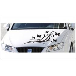 Motorhauben Aufkleber Auto Dekor Schmetterling  Tattoo Tribal Sticker Lack & Glas