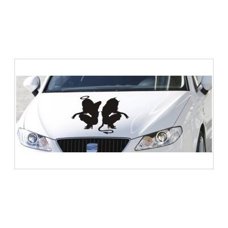 Motorhauben Aufkleber Auto Angel Devil Engel Teufel Tattoo Tribal Sticker Lack & Glas