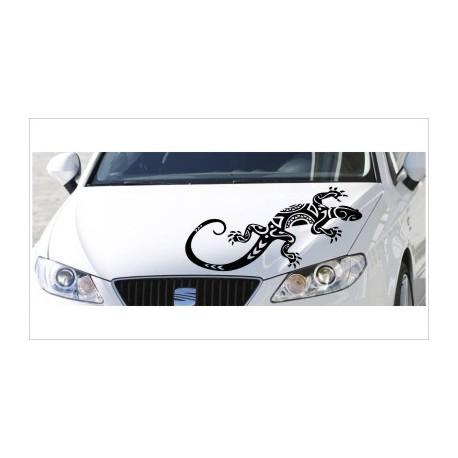 Motorhauben Aufkleber Auto Echse Gecko Salamander Tattoo Tribal Sticker Lack & Glas
