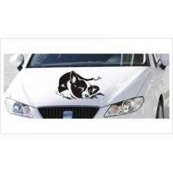 Motorhauben Aufkleber Auto Hund Welpe Hündchen  Tattoo Sticker Lack & Glas