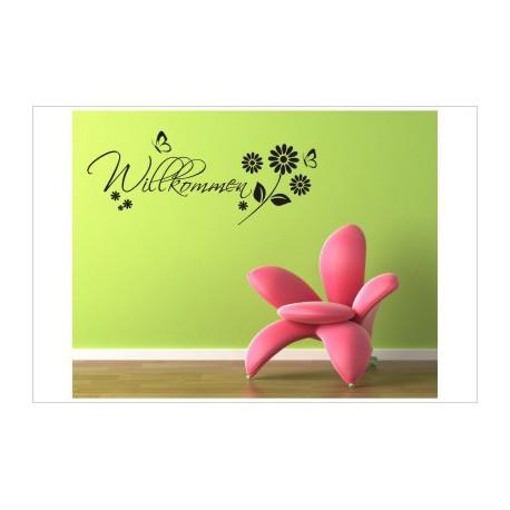 Herzlich Willkommen Blumen Wiese Welcome Wandaufkleber Wandtattoo Aufkleber