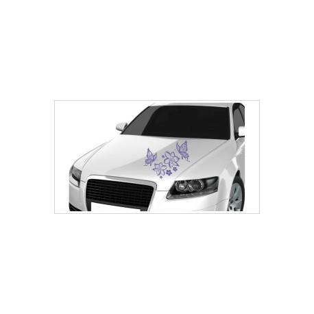 Motorhauben Aufkleber Auto Blumen Dekor Ranke Tattoo Sticker Lack & Glas
