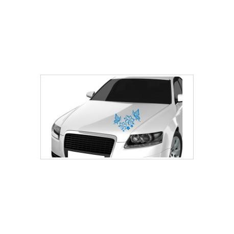 Motorhauben Aufkleber Auto Dekor Schmetterling Blüten Blumen Tattoo Sticker Lack & Glas