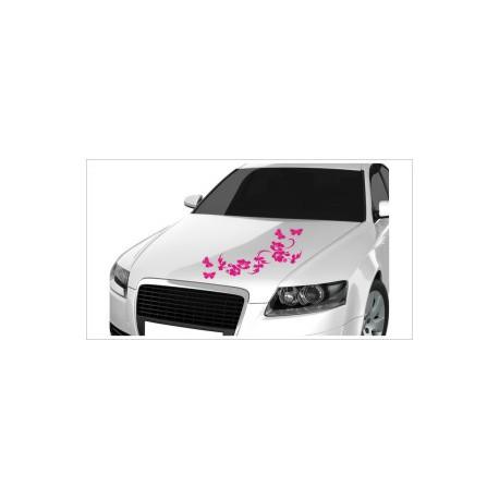 Motorhauben Aufkleber Auto Blumen Blüten Efeu Ranke Dekor  Tattoo Sticker Lack & Glas