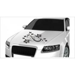 Motorhauben Aufkleber Auto Dekor Schmetterling Blumen Blüten  Tattoo Sticker Lack & Glas