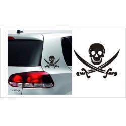 Pirat Schwert Degen Totenkopf Aufkleber  SET Tattoo Auto Car Style Tuning Heckscheibe Lack & Glas