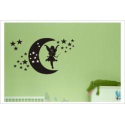 Fee Mond Sterne Gute Nacht Dreams Träume Elfe Aufkleber Dekor Kids Kinder Wandaufkleber Wandtattoo