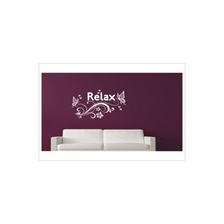 Blumen Dekor RELAX Erholung Entspannung Relax Aufkleber Wandtattoo Wandaufkleber