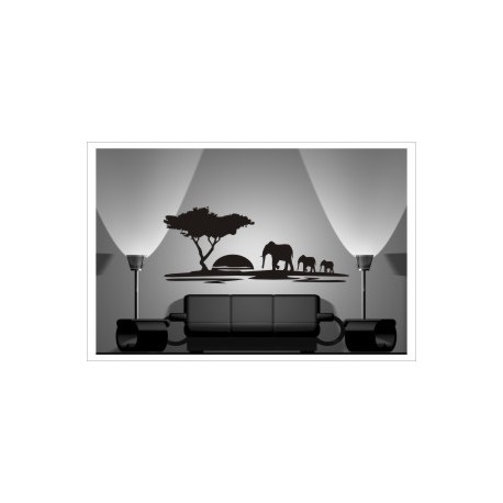 Wandaufkleber AFRIKA Africa Savanne Sonnenuntergang Tiere Elefant Giraffe Aufkleber Wandtattoo Wandaufkleber