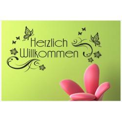 Herzlich Willkommen Schmetterling Dekor Tattoo  Welcome Wandaufkleber Wandtattoo Aufkleber