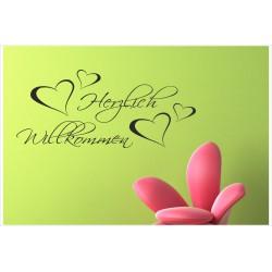 Herzlich Willkommen Herz Tattoo Dekor  Welcome Wandaufkleber Wandtattoo Aufkleber