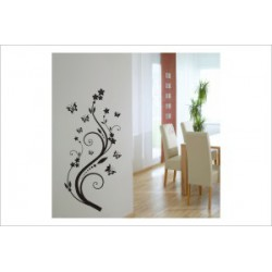 Bäumchen Baum Schmetterling Blüten Blumen Wandaufkleber Wandtattoo Ranke Dekor Tattoo Tribal