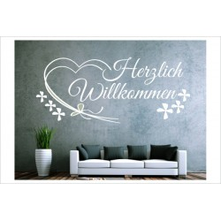 Herzlich Willkommen Herz Dekor Schriftzug Welcome Wandaufkleber Wandtattoo Aufkleber
