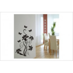 Schmetterling Blüten Blumen Wandaufkleber Wandtattoo Ranke Dekor Tattoo Tribal