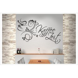Kaffee Zeit Tasse Café Mokka Espresso Wandaufkleber Wandtattoo Aufkleber Küche Essen Genießen Kochen