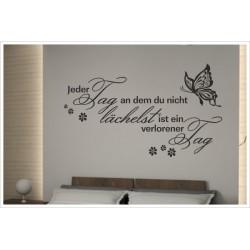Wandaufkleber Schlafzimmer Lächle jeden Tag Zitat Spruch  Tattoo Aufkleber Wand