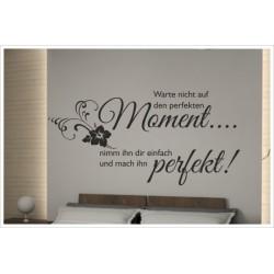 Wandaufkleber Schlafzimmer Perfekter Moment Zitat Spruch  Tattoo Aufkleber Wand