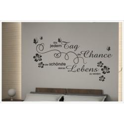 Wandaufkleber Schlafzimmer Chance des Lebens Zitat Spruch Dekor  Tattoo Aufkleber Wand