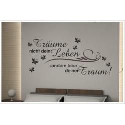 Wandaufkleber Schlafzimmer Lebe deinen Traum Träume Zitat Spruch  Tattoo Aufkleber Wand