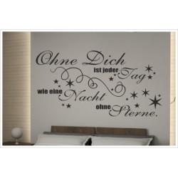 Wandaufkleber Schlafzimmer Ohne Dich - Nacht ohne Sterne Zitat Spruch  Tattoo Aufkleber Wand