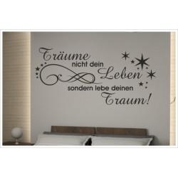 Wandaufkleber Schlafzimmer Traum - Leben Träume Sterne Zitat Spruch  Tattoo Aufkleber Wand