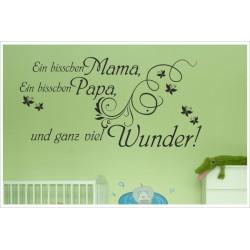 Wandaufkleber Baby Mama, Papa - Wunder 80