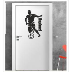 Fußball + Wunschname Wandaufkleber Aufkleber Tür Zimmer Schriftzug Junge Sport Kicker Spieler Gamer