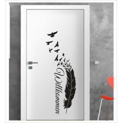 Willkommen Feder Wandaufkleber Aufkleber Tür Zimmer Schriftzug Vogel Frei Möwe