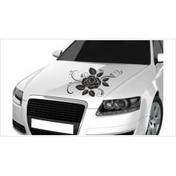 Motorhauben Aufkleber Auto Rosen Rose Blätter Blüten Dekor Tattoo Sticker Lack & Glas