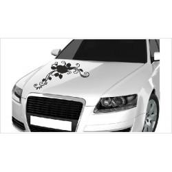 Motorhauben Aufkleber Auto Rosen Ranke Rose Blätter Dekor  Tattoo Sticker Lack & Glas