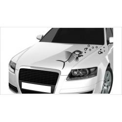 Motorhauben Aufkleber Auto Skull Fisch Bones Piranha + Blasen Tattoo Sticker Lack & Glas