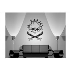 Wandaufkleber WOHNZIMMER Skull Totenkopf Pirat 153