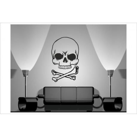 Wandaufkleber WOHNZIMMER Skull Totenkopf Pirat 154