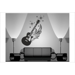 Wandaufkleber WOHNZIMMER 170 Gitarre Music Musik