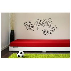 Fußball Ball Spieler + Name Aufkleber Dekor Kids Kinder Wandaufkleber Wandtattoo Kicker